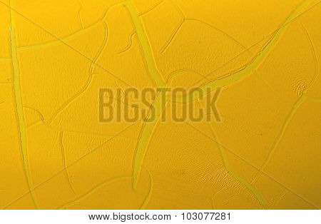 Yellow Painted Metal Wall Texture With Cracked Surface.