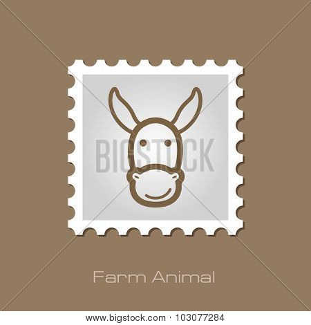 Donkey stamp. Animal head vector illustration