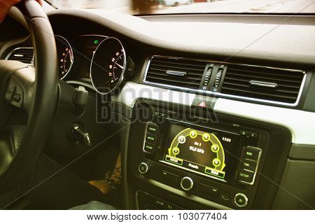 Car Interior With A Large Display