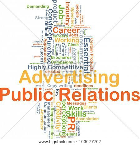 Background concept wordcloud illustration of advertising public relations