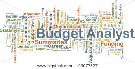 Background concept wordcloud illustration of budget analyst