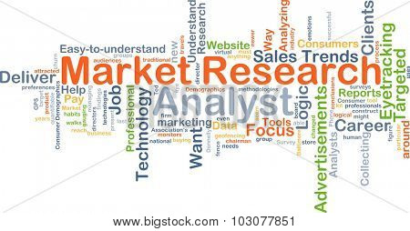 Background concept wordcloud illustration of market research analyst