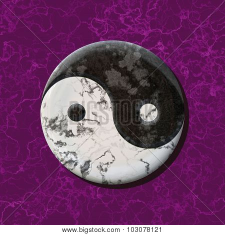 Black And White Jin Jang Balance Symbol On Marble Purple Background
