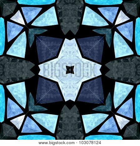 Kaleidoscope Mosaic Floral Blue Seamless Pattern