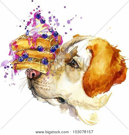 Labrador dog, Viennese waffles and berries T-shirt graphics, dog illustration for fashion print, pos