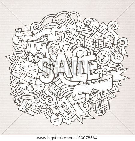 Sale hand lettering and doodles elements background