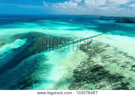 Beautiful view of Palau islands and German channel from above