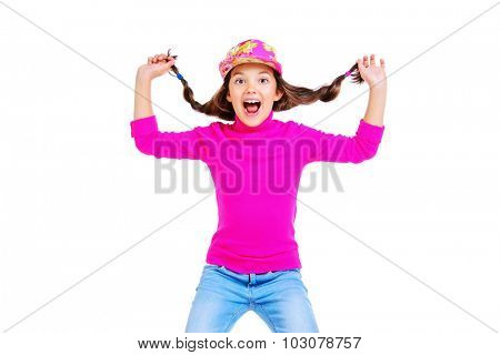 Happy emotional eight-year girl in casual clothes. Isolated over white.
