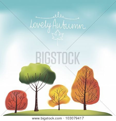 Group of autumn trees.