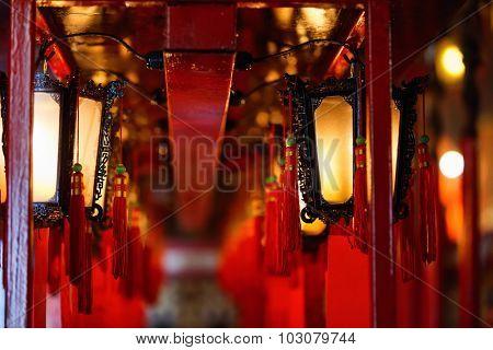 Close up interior of Man Mo Temple in Hong Kong with lanterns