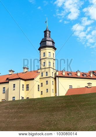 The Tower Of A Medieval Castle In Nesvizh. Belarus.