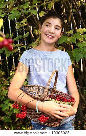 Teen Beautiful Girl Pluck Viburnum Berries