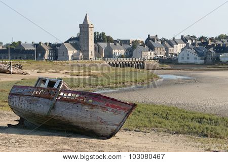 View Of Portbail, France, Normandy In Tidal