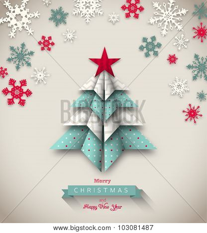 colorful origami tree, abstract christmas illustration