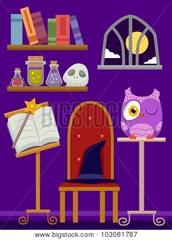 Illustration of a Purple Room Filled with Wizardry Related Items