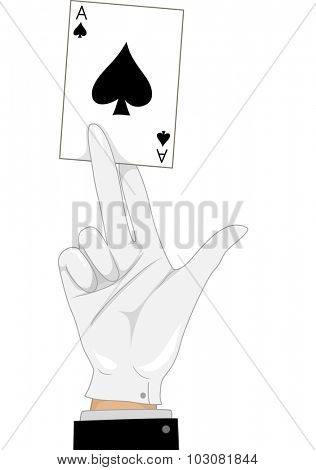 Illustration of a Magician Holding an Ace of Spades