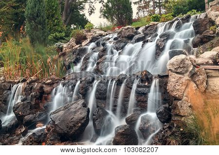 Hand Made Waterfall Cascade With Rocks