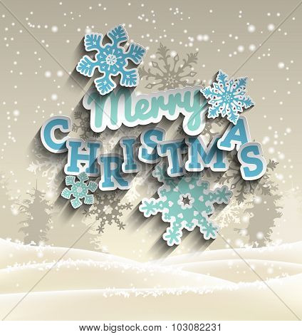 Light blue decorative text Merry Christmas on background with abstract winter landscape, illustratio