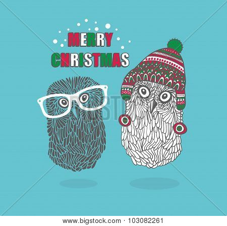 Two hipster owls.