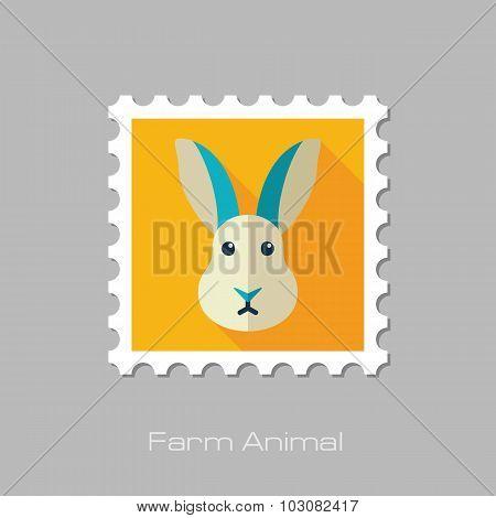 Rabbit flat stamp. Animal head vector illustration