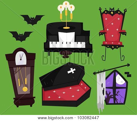 Grouped Illustration of Things Commonly Associated with Vampires