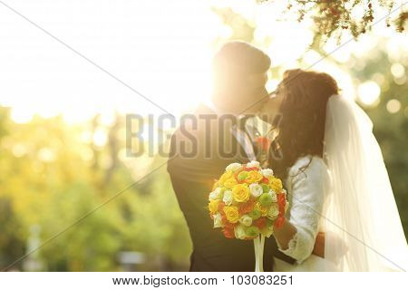 Beautiful Bride And Groom Kissing At Sunset