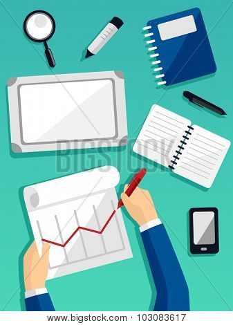 Illustration of a Businessman Preparing a Business Report