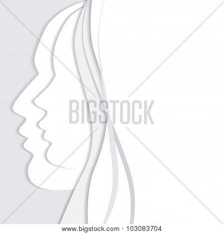 vector beautiful man and woman profiles