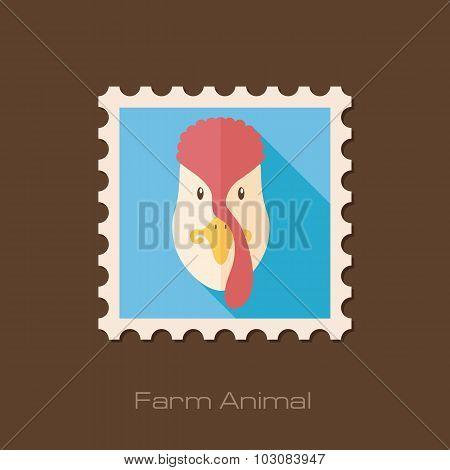 Turkey flat stamp. Animal head vector illustration
