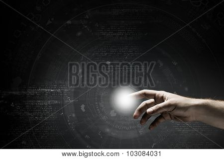 Businessman hand pushing icon on touch screen interface