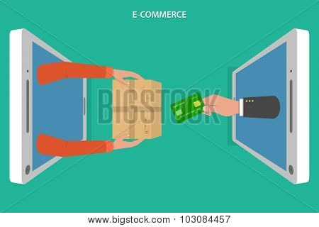 E-commerce flat vector concept.