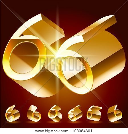 3D vector deluxe alphabet of randomly rotated thin golden symbols. All symbols in set have 8 random points of view. Number 6