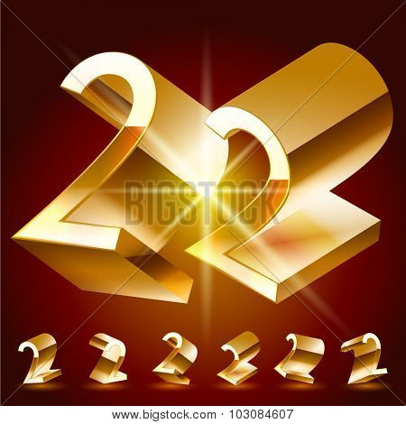 3D vector deluxe alphabet of randomly rotated thin golden symbols. All symbols in set have 8 random points of view. Number 2