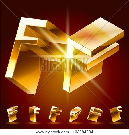3D vector deluxe alphabet of randomly rotated thin golden symbols. All symbols in set have 8 random points of view. Letter F