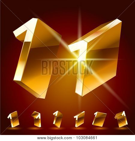 3D vector deluxe alphabet of randomly rotated thin golden symbols. All symbols in set have 8 random points of view. Number 1