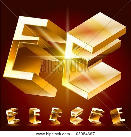 3D vector deluxe alphabet of randomly rotated thin golden symbols. All symbols in set have 8 random points of view. Letter E