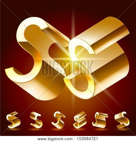 3D vector deluxe alphabet of randomly rotated thin golden symbols. All symbols in set have 8 random points of view. Letter S