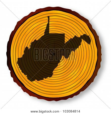 West Virginia Map On Timber