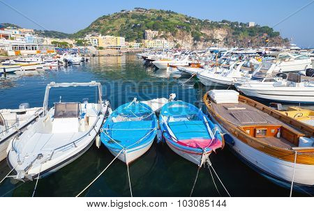 Boats And Yachts Moored In Lacco Ameno