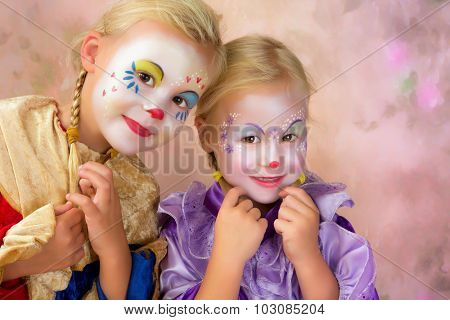 Painterly portrait of two adorable clown girls