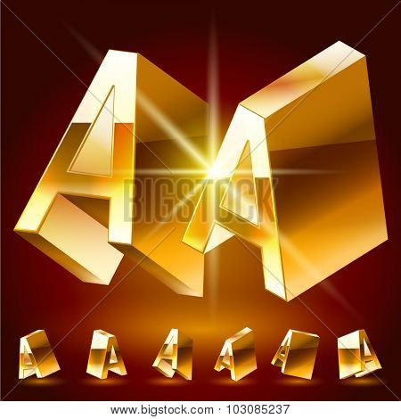 3D vector deluxe alphabet of randomly rotated thin golden symbols. All symbols in set have 8 random points of view. Letter A