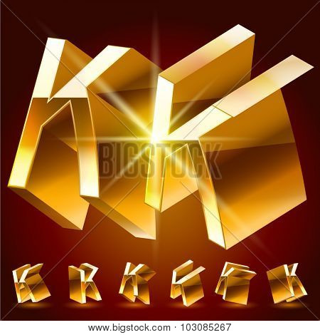 3D vector deluxe alphabet of randomly rotated thin golden symbols. All symbols in set have 8 random points of view. Letter K