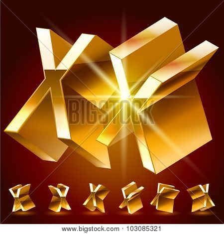 3D vector deluxe alphabet of randomly rotated thin golden symbols. All symbols in set have 8 random points of view. Letter X