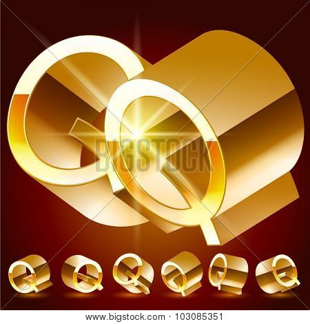 3D vector deluxe alphabet of randomly rotated thin golden symbols. All symbols in set have 8 random points of view. Letter Q