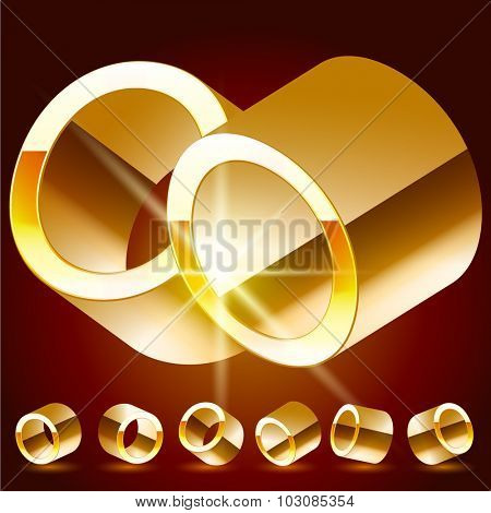 3D vector deluxe alphabet of randomly rotated thin golden symbols. All symbols in set have 8 random points of view. Letter O