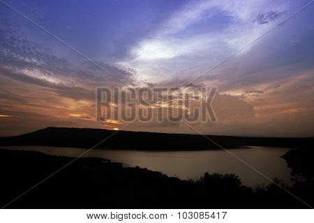 Silhouette Of Lam Takong Reservoir Dam With Mountain
