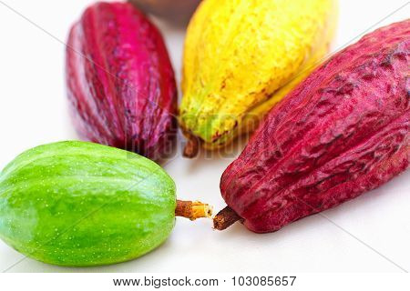 Different Sorts Of Colorful Cocoa Pods