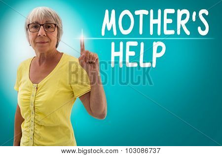 Mothers Help Touchscreen Is Shown By Senior Woman Concept