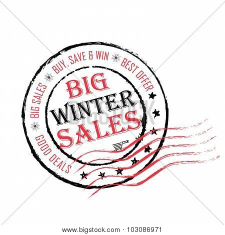 Big winter Sales grunge post stamp