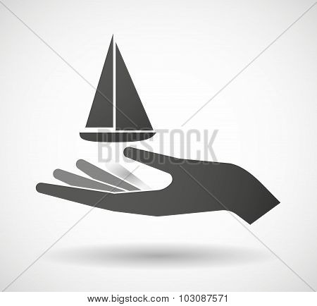 Isolated Hand Giving A Ship
